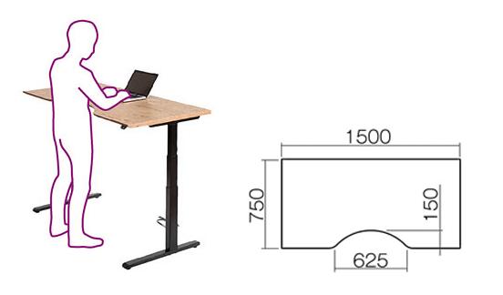 garageスタンディングデスクM型にひざを置いてPCを使う人、M型の寸法
