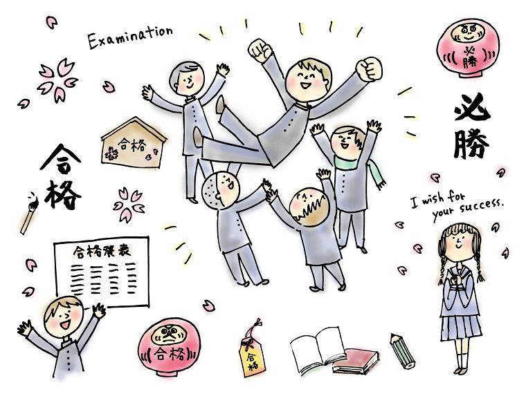 受験に合格して胴上げして喜ぶ子供たち