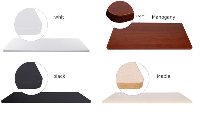 FlexiSpotの4色天板カラートサイズの数値を記載した画像