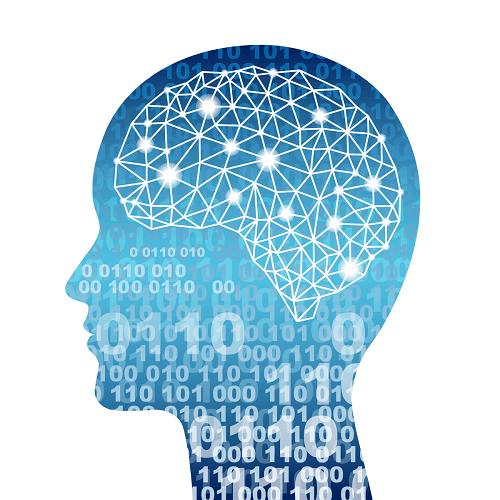 ブルーの人型頭脳の電気信号