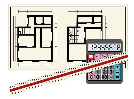 住宅の平面図プランと電卓スケール
