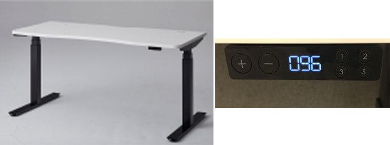 プラスの電動式デスクの全体とスイッチ