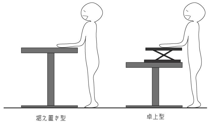 据え置き型と卓上型のスタンディングデスクの比較